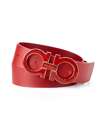 Men's Large Enamel Gancini Buckle Belt, Red
