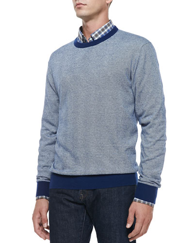 Cotton/Cashmere Striped Sweater, Navy/White