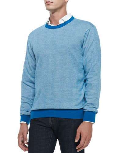 Cotton/Cashmere Striped Sweater, Blue/White