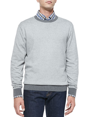Cotton/Cashmere Striped Sweater, Gray/White