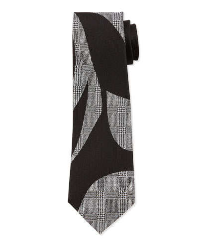 Silk Prince of Wales Check & Solid Tie