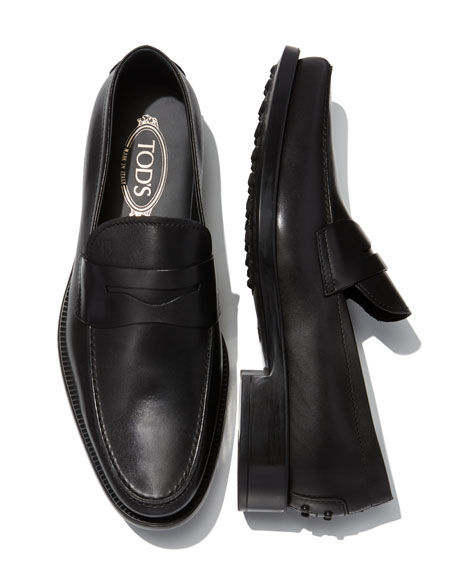 Boston Leather Penny Loafer, Black