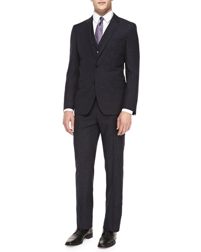Textured Donegal Three-Piece Suit, Navy