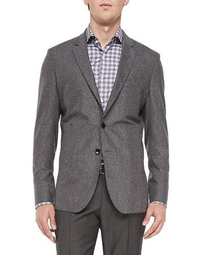 Raw-Edge Two-Button Jacket, Light Gray