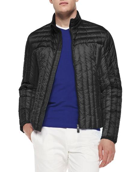 Moncler Quilted Zip-Front Jacket, Black