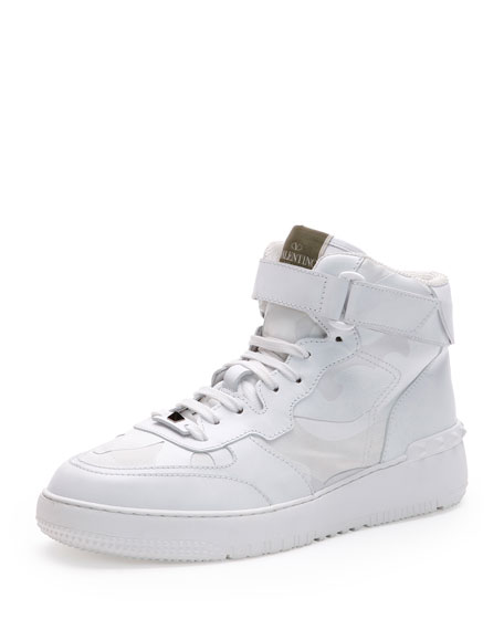 Valentino Rockstud Camo High-Top Sneaker, White