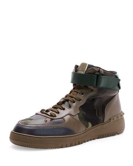 Valentino Rockstud Camo High-Top Sneaker, Army Green
