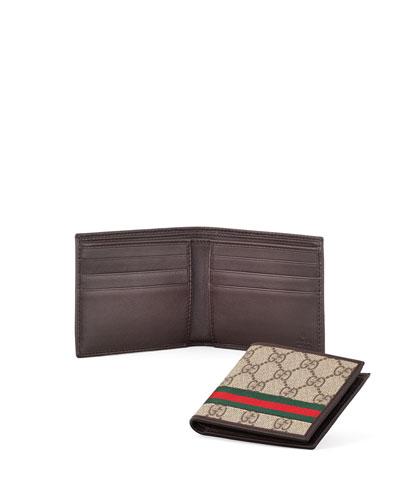 GG/Leather Bi-Fold Wallet, Beige