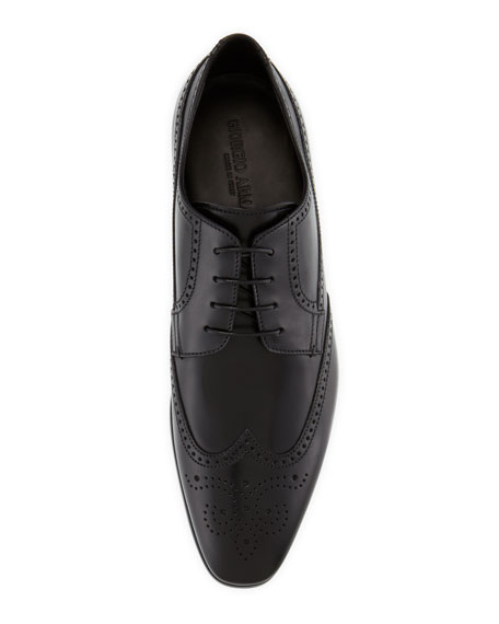 Image 2 of 4: Leather Wing-Tip Lace-Up, Black
