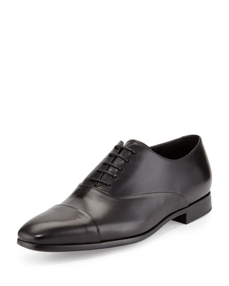 Giorgio Armani Leather Cap-Toe Oxford, Black