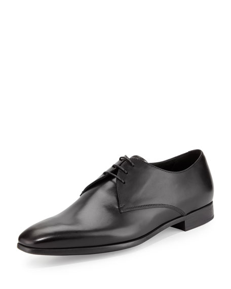 Giorgio Armani Leather Lace-Up Dress Shoes, Black