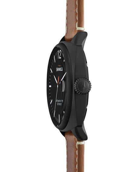 46mm Brakeman Men's Watch, Black/Brown