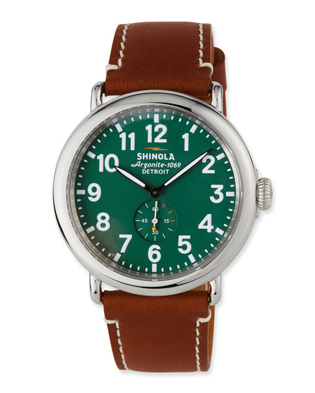 47mm Runwell Men's Watch, Green/Brown
