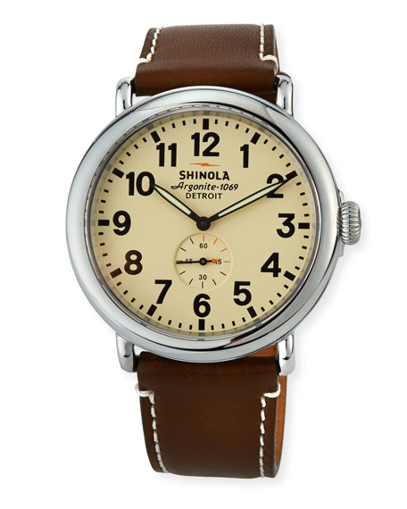 Shinola 47mm Runwell Men's Watch, Cream/Dark Brown