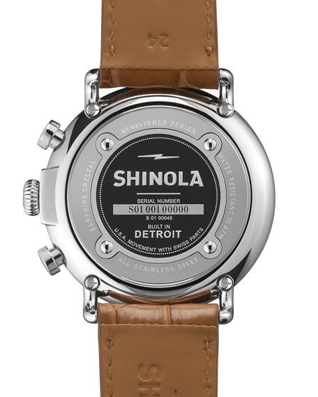 47mm Runwell Chronograph Men's Watch, White/Tan