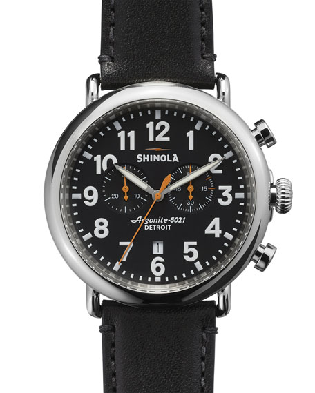 Shinola 47mm Runwell Chronograph Men's Watch, Black/Black