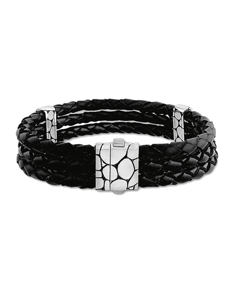 John Hardy Kali Black Woven Leather Triple-Row Bracelet