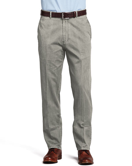 Straight-Leg Cotton Pants, Granite