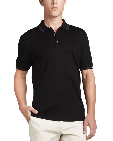 Men's Cotton Piqué 3-Button Polo Shirt with Gancini Detail on Collar, Black/Gray
