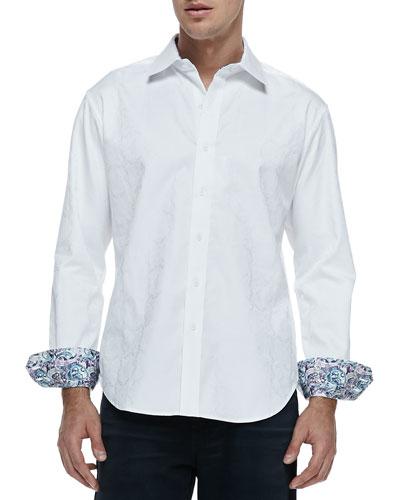 Salisbury Tonal-Jacquard Sport Shirt, White