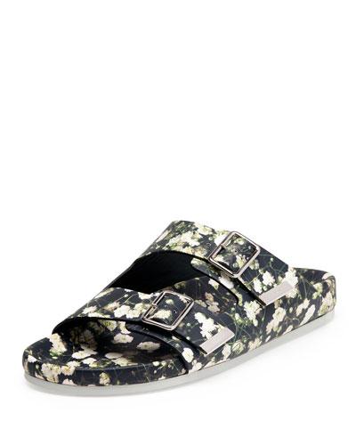 Floral-Print Banded Slide Sandal