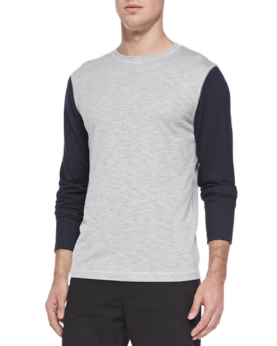 Two-Tone Crewneck Sweater, Gray/Navy