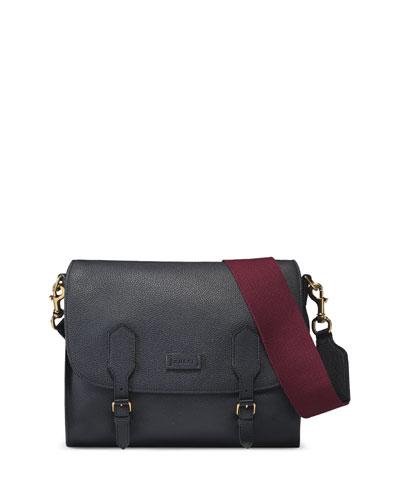 Men's Leather Messenger Bag, Blue/Red