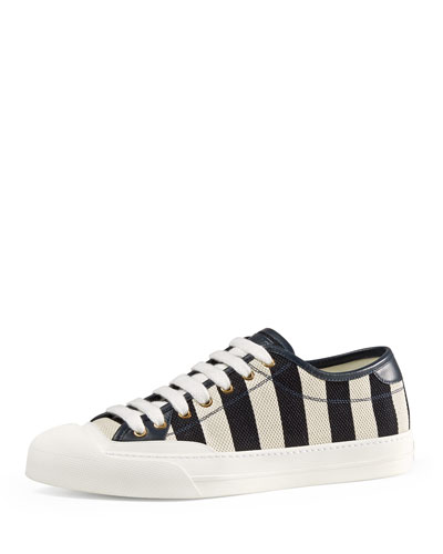 Striped Canvas Low-Top Sneaker, Blue/White