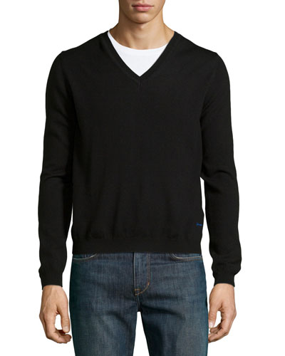 Long-Sleeve V-Neck Merino Sweater, Black