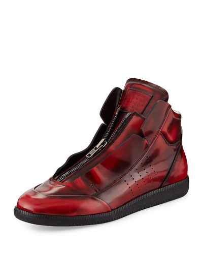 Maison Martin Margiela	 Future Burnished Leather Zip High-Top Sneaker