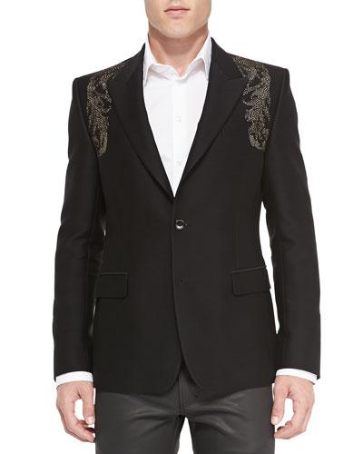 Metallic-Embellished Cotton/Silk Blend Jacket