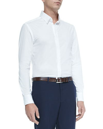 Trend-Fit Stretch-Poplin Shirt, White