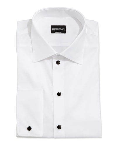 Stud-Front Formal Shirt, White