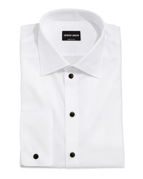 Giorgio armani stud front formal shirt white neiman marcus for Tuxedo shirt no studs