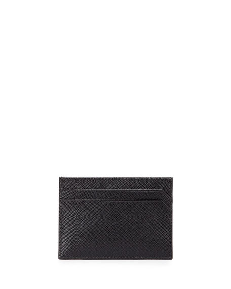 Prada Textured Leather Card Case, Black
