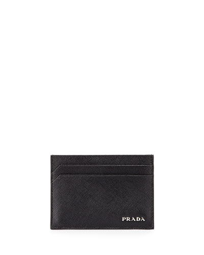 Textured Leather Card Case, Black