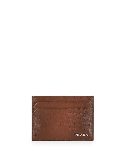 Saffiano Card Case, Cacao
