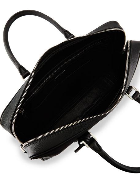 Prada Saffiano Zip-Around Briefcase, Black (Nero)