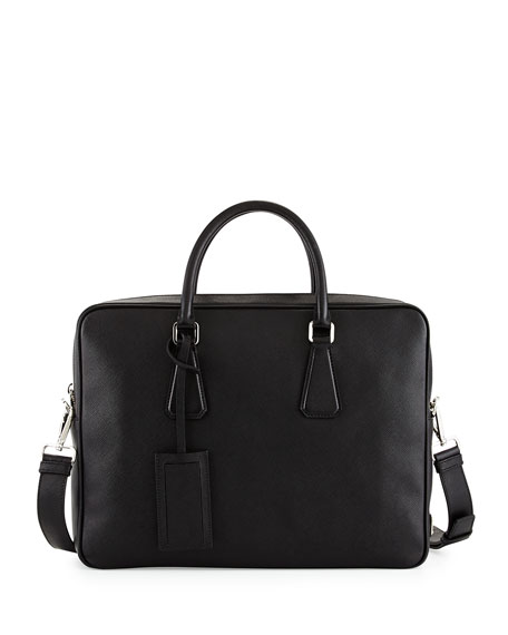 Prada Saffiano Zip-Around Briefcase, Black (Nero)