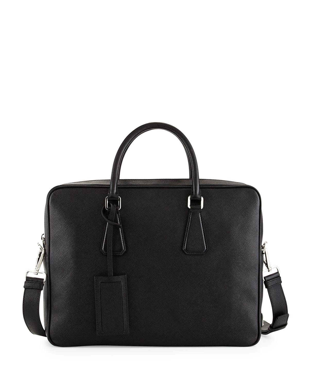 9152ca0b0c36 Prada Saffiano Zip-Around Briefcase, Black (Nero) | Neiman Marcus