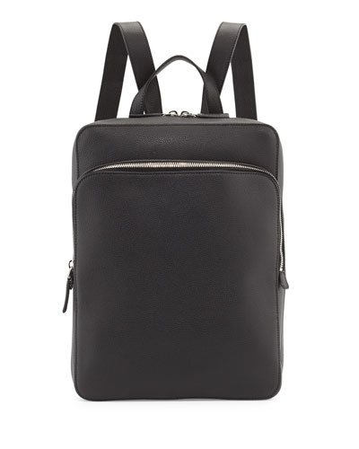 Calfskin Slim Backpack with Zip Closures