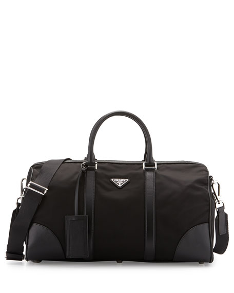 Prada Nylon and Leather Duffel Bag, Black
