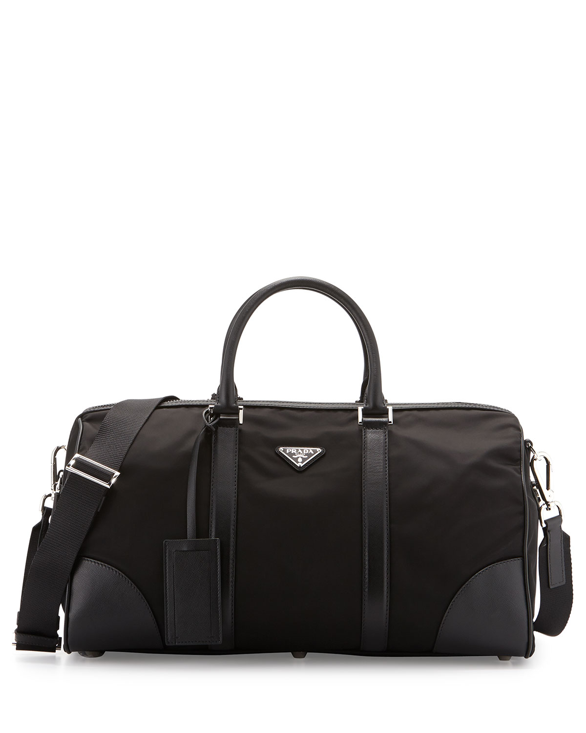 Nylon And Leather Duffel Bag Black