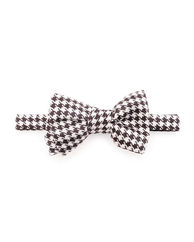 Houndstooth Jacquard Bow Tie, Black/White