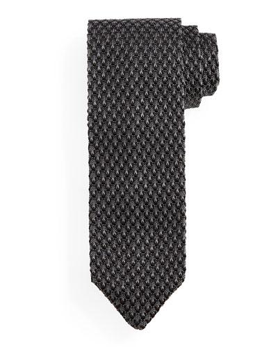 Diamond-Patterned Knit Tie, Gray/Black