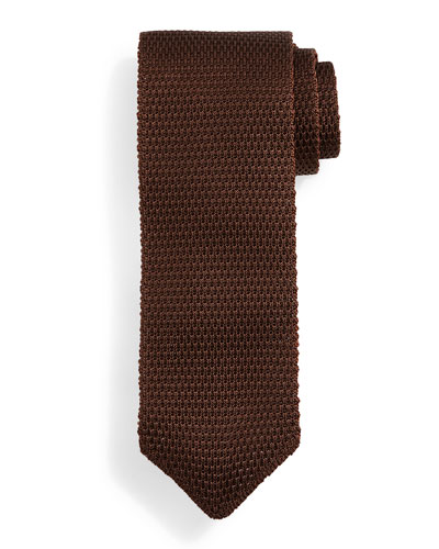 Thin-Striped Knit Tie, Brown