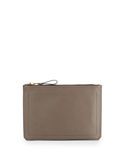Leather Document Case, Gray