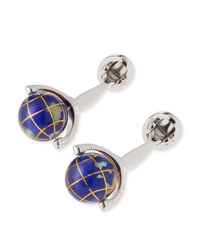 Spinning Lapis Inlay Globe Cuff Links