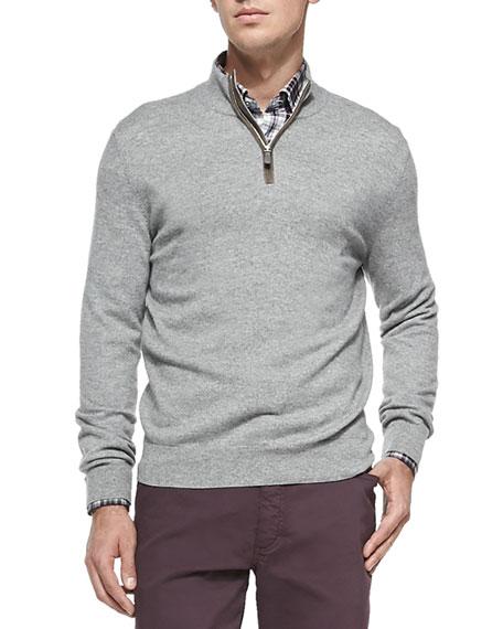 Ermenegildo Zegna Cashmere/Silk Pique Sweater, Dark Gray