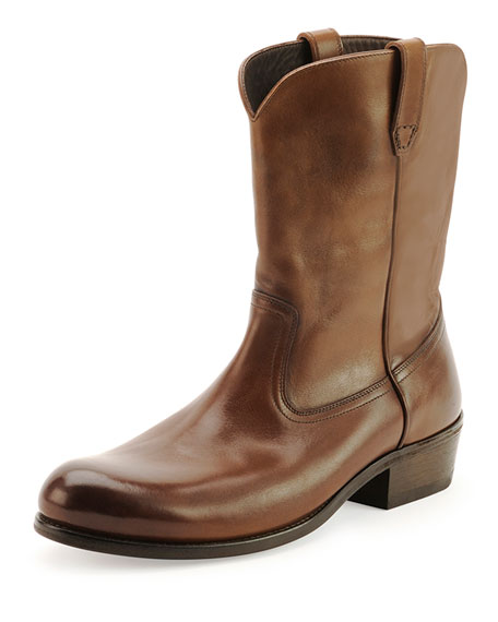 TOM FORD Christopher Leather Cowboy Boot, Brown